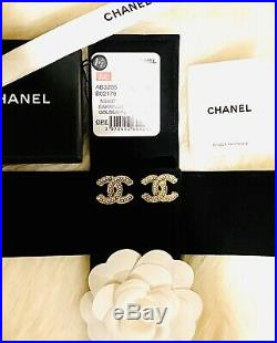 CHANEL CC Gold Classic Pearl Logo Earrings Brand Authentic