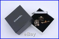 CHANEL CC Logo Camellia Shoes Black×Gold Tone Pin Brooches Set Auth withBox #241