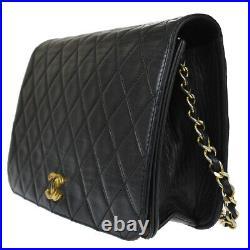 CHANEL CC Logo Full Flap Matelasse Chain Shoulder Bag Leather Black Gold 46BT943