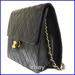CHANEL CC Logo Matelasse Chain Shoulder Bag Leather Black Gold Vintage 20MI963
