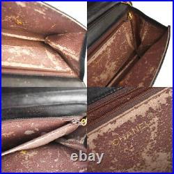 CHANEL CC Logo Matelasse Chain Shoulder Bag Leather Black Gold Vintage 44MI964