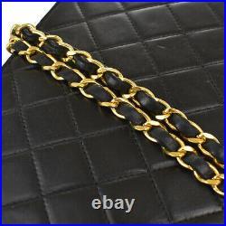 CHANEL CC Logo Matelasse Chain Shoulder Bag Leather Black Gold Vintage 607MK261