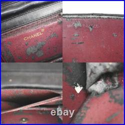CHANEL CC Logo Matelasse Chain Shoulder Bag Leather Black Gold Vintage 683LB451
