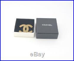 CHANEL CC Logo Mesh Brooch Gold Tone Pin withBOX v1866