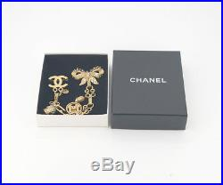 CHANEL CC Logo Ribbon Bow Bell Brooch Gold Tone Pin 03A #2084