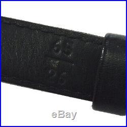 CHANEL CC Logos Buckle Belt Black Gold Leather 65/26 C024 Authentic AK38236i
