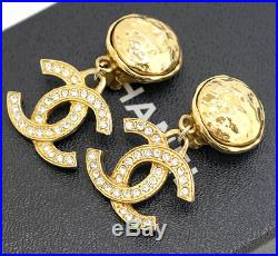 CHANEL CC Logos Crystal Dangle Earrings Gold & Rhinestone withBOX v1906