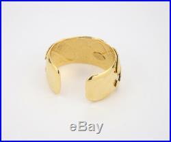 CHANEL CC Logos Cuff Bracelet Gold tone 94P Bangle withBOX #2509