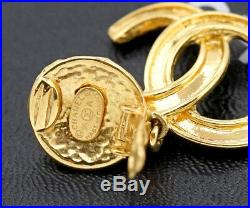 CHANEL CC Logos Dangle Earrings Gold Tone Vintage 95A withBOX excellent a