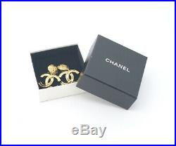 CHANEL CC Logos Dangle Earrings Gold Tone Vintage 95A withBOX excellent r377
