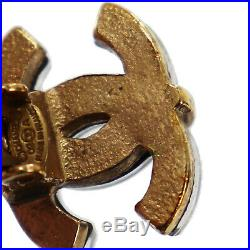 CHANEL CC Logos Earrings Clear Gold Plated Clip-On 02 A Vintage Auth #AB295 I