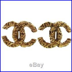 CHANEL CC Logos Earrings Gold Clip-On 93 A France Vintage Authentic #Z23 M