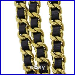 CHANEL CC Logos Gold Chain Belt Black Leather 94 A Vintage Authentic #U708 W