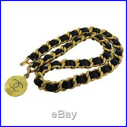 CHANEL CC Logos Gold Chain Belt Black Leather Vintage 94A France Authentic #Y518