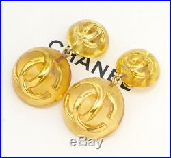 CHANEL CC Logos Round Lucite Dangle Earrings Clear & Gold 25 withBOX v1258