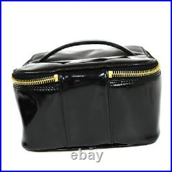 CHANEL CC Logos Vanity Hand Bag Patent Leather Black Gold Italy Vintage 82BU225
