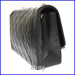 CHANEL CC Matelasse Diana Chain Shoulder Bag Leather Black Gold Vintage 865LB408
