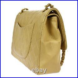 CHANEL CC Matelasse Double Flap Chain Shoulder Bag Leather BE Vintage 665LB435