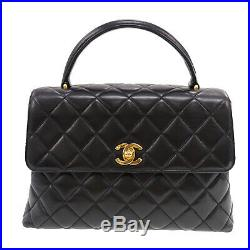 CHANEL CC Quilted Hand Bag Black Lambskin Leather Vintage France Auth #ZZ727 O