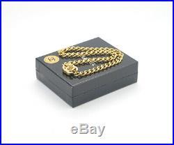 CHANEL CC Turnlock Chain Necklace Rhinestone Gold Tone Vintage v1812
