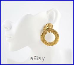 CHANEL CC logos Hoop 2 way Dangle Earrings Gold Clips 29 Vintage withBOX #1945