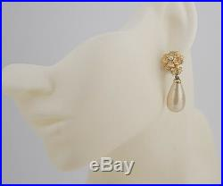 CHANEL Camellia Flower Pearl Dangle Earrings Gold Clips Vintage 93A withBOX #722