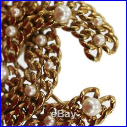 CHANEL Chain Pearl Pin Brooch Gold-Tone 05 P Vintage France Authentic #W770 W