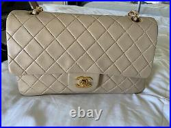 CHANEL Classic 2.55 Double Flap Medium Beige Leather With Gold Hardware
