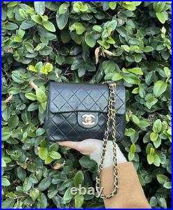 CHANEL Classic CC Flap Mini Square Chain Bag Black Quilted Gold Crossbody Coco