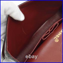 CHANEL Classic Double Flap Small Chain Shoulder Bag Black Leather Vintage 00449