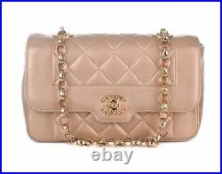 CHANEL Diana Flap Gold Quilted Leather Gold Chain Crossbody Shoulder Bag Purse