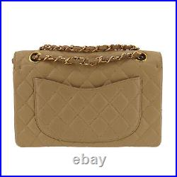 CHANEL Double Flap Chain Shoulder Bag Beige Lambskin Vintage Authentic #PP805 O
