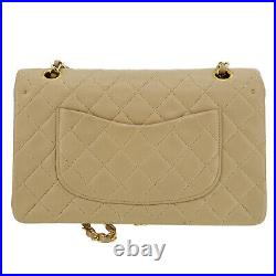 CHANEL Double Flap Chain Shoulder Bag Beige Leather Vintage Authentic #PP542 Y