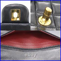 CHANEL Double Flap Chain Shoulder Bag Black Leather Vintage Authentic #AC654 O