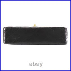 CHANEL Double Flap Chain Shoulder Bag Black Leather Vintage Authentic #PP5 Y