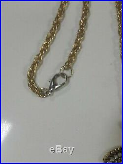 CHANEL Gold Plated CC Logos Charm Vintage Chain Necklace Pendant