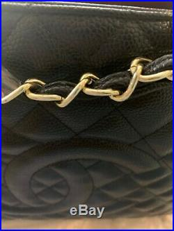 CHANEL Grand Shopping Tote GST AUTHENTIC Caviar Quilted CC Black and Gold Large