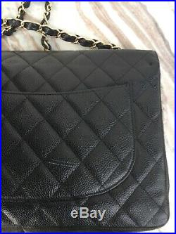 CHANEL Jumbo Black Classic Quilted Caviar Leather Single Flap Gold Chain Purse