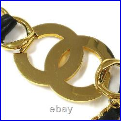 CHANEL Jumbo CC COCO Gold Chain Belt Black Leather 29 Authentic WA00844