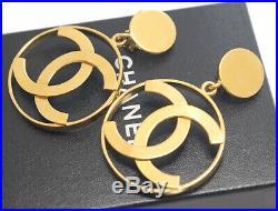 CHANEL Jumbo CC Logos Dangle Earrings Gold Tone Clips withBOX