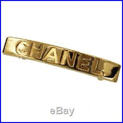 CHANEL Logos Hair Clip Barrette Gold 97 A France Vintage Authentic #GG907 I