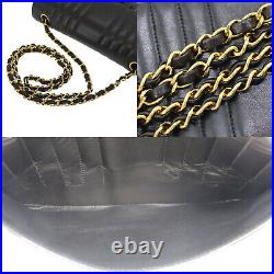 CHANEL Mademoiselle Chain Shoulder Bag Black Leather France Authentic #NN73 O