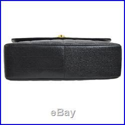 CHANEL Mademoiselle Jumbo Chain Shoulder Bag Black Caviar Leather AK36791k