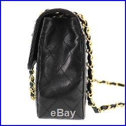 CHANEL Matelasse Chain Shoulder Bag Black Leather Vintage Authentic #ZZ419 O