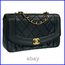 CHANEL Matelasse Diana Flap Lambskin Black Gold Chain Shoulder bag Authentic