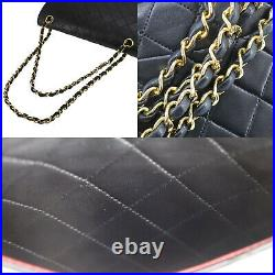 CHANEL Matelasse Double Flap Chain Shoulder Bag Black Leather Authentic #AB210 O