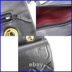 CHANEL Matelasse Double Flap Chain Shoulder Bag Black Leather Authentic #AD230 Y