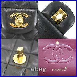 CHANEL Matelasse Double Flap Chain Shoulder Bag Black Leather Authentic #MM834 Y