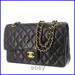 CHANEL Matelasse Double Flap Chain Shoulder Bag Black Leather Authentic #ZZ941 O