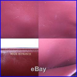 CHANEL Matelasse Double Flap Chain Shoulder Bag Black Leather Vintage Auth AB210